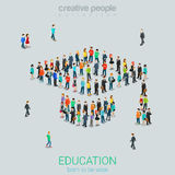 Mass education crowd people graduate cap flat vector isometric Royalty Free Stock Image