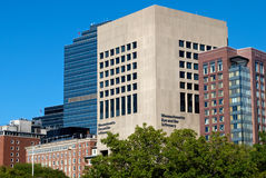 Mass eye and ear. Massachusetts eye and ear infirnary nestled inbetween glass and brick buildings in boston Stock Photo
