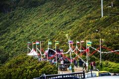 Mass för öppen luft i bergen i norden av ön av madeiran Arkivbild