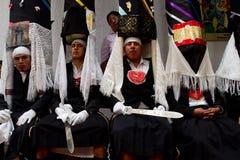 Mass för helig vecka av härlighet i Alangasi, Ecuador Arkivfoton