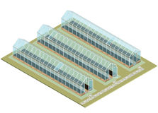 Mass farm. Isometric greenhouse with glass walls, foundations, gable roof. Stock Photography