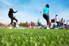 Mass fitness at stadium Royalty Free Stock Photo