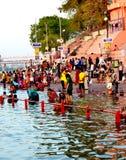 Mass gathering of public bath in kshipra river in great kumbh mela, Ujjain, India Royalty Free Stock Photos