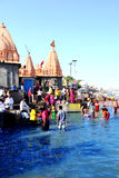 Mass gathering of public bath in kshipra river in great kumbh mela, Ujjain, India Stock Image