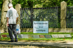 Mass grave of fallen soldiers and officers who liberated Berlin from the Nazis. BERLIN - MAY 08, 2016: Victory in Europe Day. Treptower Park. Mass grave of Stock Photography