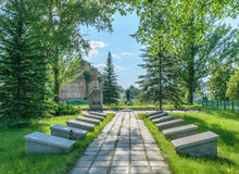 Mass grave and memorial to soldiers of the 16th Lithuanian Klaipeda Red Banner Rifle Division Stock Photos