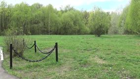 Mass grave of soldiers died in the great Patriotic War. Moscow, village Uzkoe. Shooting date 7 may 2017. Panorama with. Mass grave of soldiers died in the great stock footage