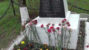 Mass grave of soldiers died in the great Patriotic War. Moscow, village Uzkoe. Shooting date 7 may 2017. Panorama with. Mass grave of soldiers died in the great stock video footage
