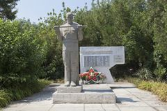 Mass grave of Soviet soldiers who died in the battles with the fascist invaders in the settlement of Dzhemete, Anapa. Anapa, Krasnodar region, Russia - July 23 Stock Image