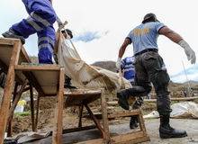 Mass grave for victims of typhoon Haiyan in Philippines Stock Photo