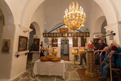 Mass in a Greek orthodox church in island Ios, Greece. Stock Images