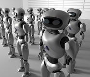 Mass of many robots. A crowd of android cyborg. 3d render.  Royalty Free Stock Photo