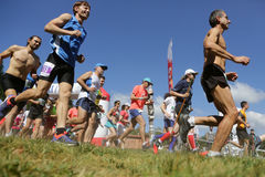 Mass marathon runners in the mountain Royalty Free Stock Photography