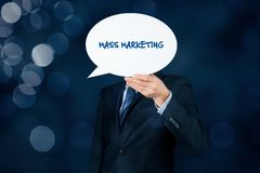 Mass marketing. Concept. Marketing specialist hold bubble speech with text stock image