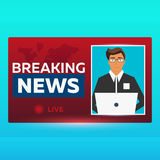 Mass media banner. Anchorman in Breaking News. Live. Television studio. TV show. Royalty Free Stock Photos