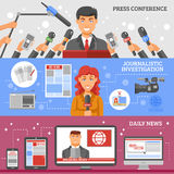 Mass Media Banners Set Royalty Free Stock Photos