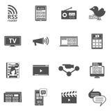 Mass media black icons set Stock Photo