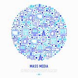 Mass media concept in circle with thin line icons royalty free illustration