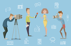 Mass media concept design of live news tv broadcasting with reporter, cameraman, photographer. Royalty Free Stock Images