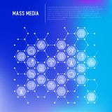Mass media concept in honeycombs stock illustration