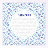 Mass media concept with thin line icons: journalist, newspaper, stock illustration