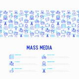 Mass media concept with thin line icons: journalist, newspaper,. Article, blog, report, radio, internet. Modern vector illustration for banner, print media, web stock illustration