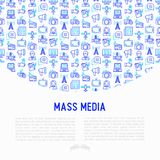 Mass media concept with thin line icons: journalist, newspaper,. Article, blog, report, radio, internet. Modern vector illustration for banner, print media, web vector illustration