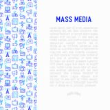 Mass media concept with thin line icons: journalist, newspaper,. Article, blog, report, radio, internet. Modern vector illustration for banner, print media, web royalty free illustration