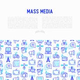 Mass media concept with thin line icons: journalist, newspaper, royalty free illustration