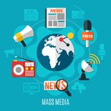 Mass Media Design Concept stock illustration