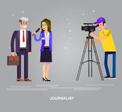 Mass media design concept set with journalists preparing news materials operators Royalty Free Stock Photography