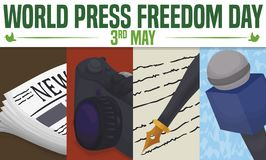 Mass Media Elements to Celebrate World Press Freedom Day, Vector Illustration. Journalist working tools to make a great report, inform and tell the true during vector illustration