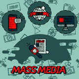 Mass media flat concept icons. For infographics design web elements Royalty Free Stock Photography