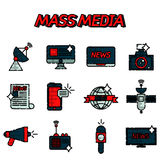 Mass media flat icons set Royalty Free Stock Photos