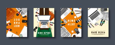 Mass media flat style covers set. Press conference with correspondent and reporter. Broadcasting multimedia news. Newspaper and TV show. Internet radio stock illustration