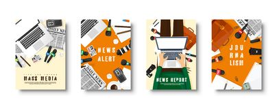 Mass media flat style covers set. Press conference with correspondent and reporter. Broadcasting multimedia news. Newspaper and TV show. Internet radio royalty free illustration