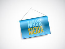 Mass media hanging banner illustration Royalty Free Stock Photo
