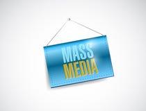Mass media hanging banner illustration. Design over white stock illustration