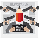 Mass Media Is The Hostage. Vector Illustration stock illustration