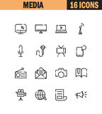 Mass media icon set. Mass media flat icon set. Collection of high quality outline symbols for web design, mobile app. Mass media vector thin line icons or logo royalty free illustration