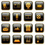 Mass Media icons - golden series Stock Images