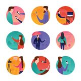 Mass Media Icons. Journalists and mass media related icons are enclosed in a pack of 45 flat rounded icons with deep knowledge of reporting news visuals vector illustration
