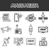 Mass media icons set Royalty Free Stock Photography