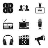 Mass media icons set, simple style. Mass media icons set. Simple set of 9 mass media vector icons for web isolated on white background royalty free illustration