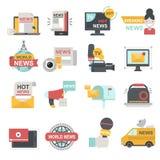 Mass media icons set with telecommunications radio beaking news broadcast TV or website symbols flat isolated vector. Mass media icons set with Stock Image