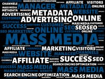 MASS MEDIA - image with words associated with the topic ONLINE MARKETING, word, image, illustration. MASS MEDIA - image with words associated with the topic royalty free illustration