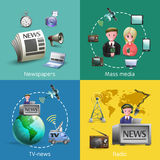Mass Media 2x2 Images Set stock illustration