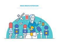 Mass media interview. Live press conference, journalism. Communications, questions, news. Mass media interview. Live press conference, journalism, collection of Royalty Free Stock Images