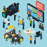 Mass Media Isometric Concept. Mass media isometric design concept set with journalists preparing news materials operators working with camera and interviewer vector illustration