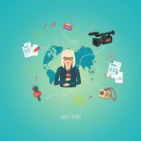 Mass media journalism broadcasting news cast. Concept flat business icons set of paparazzi profession live radio for infographics design web elements vector royalty free illustration
